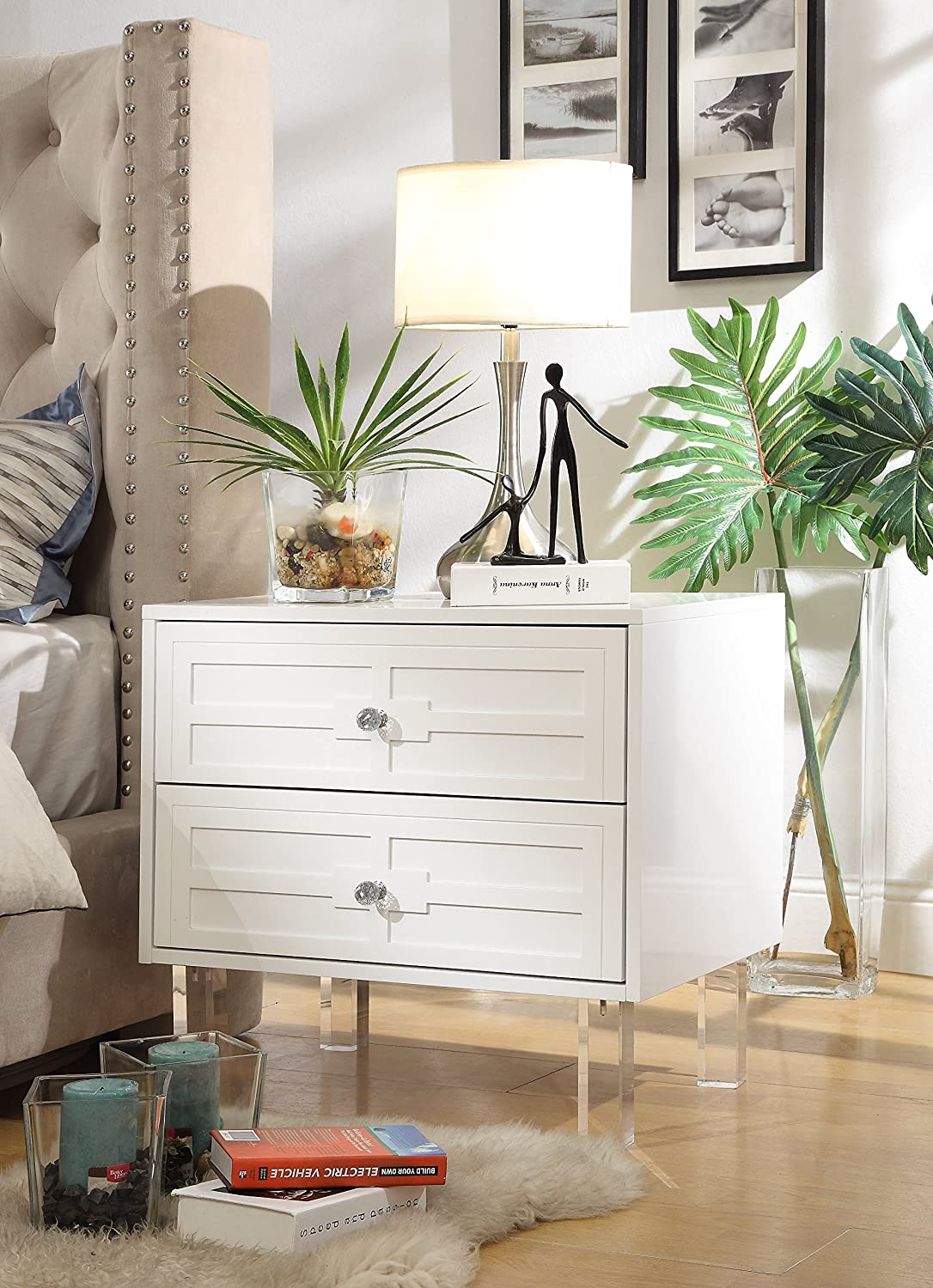 Amazon.com: Inspired Home Donatello White Glossy Modern Nightstand ...