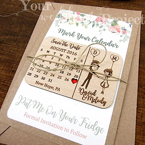 Save The Date Magnet Calendar Wood Dates Wedding Invitation Favors Modern Wooden Floral