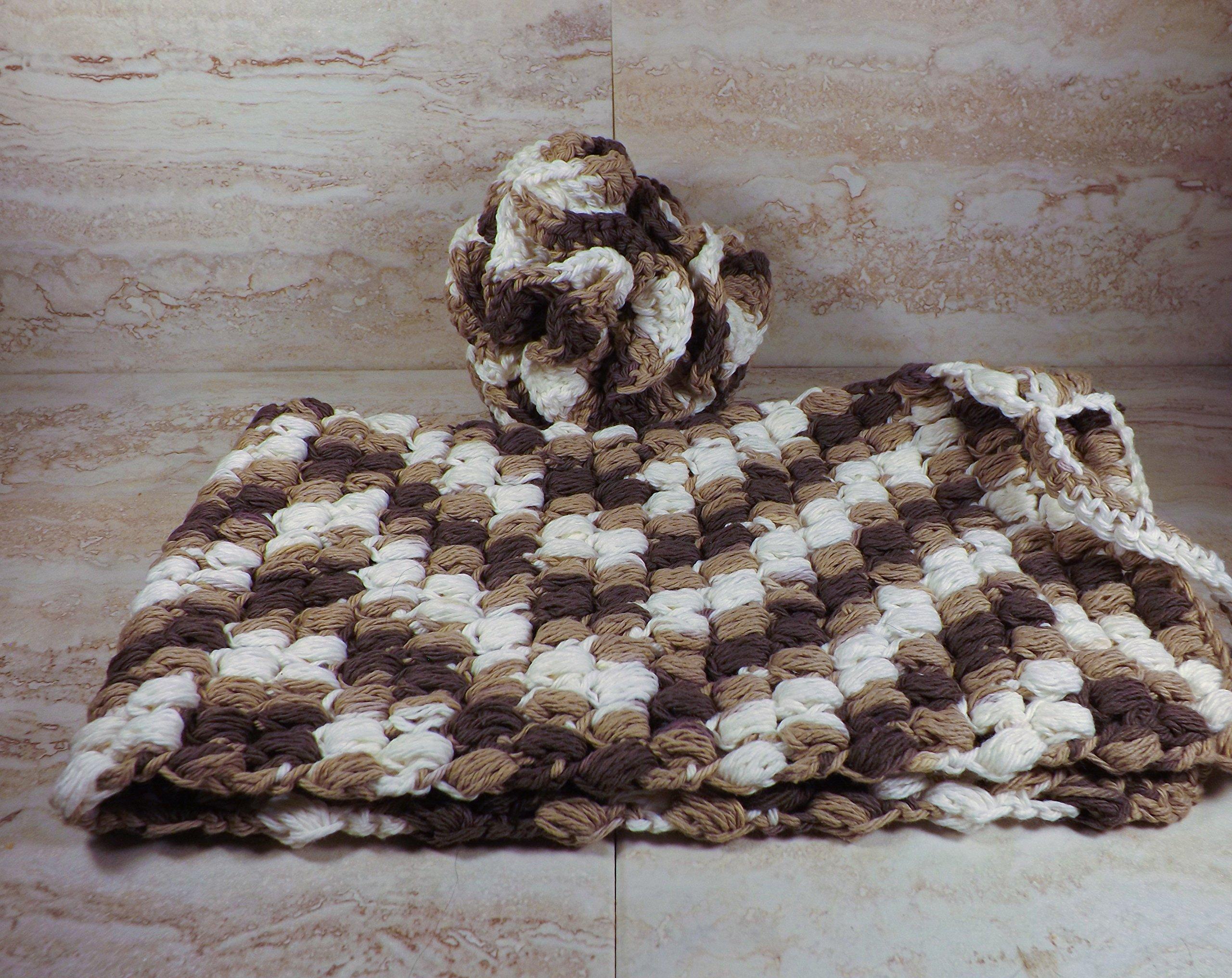 Crochet Bath Pouf and Back Scrubber Set