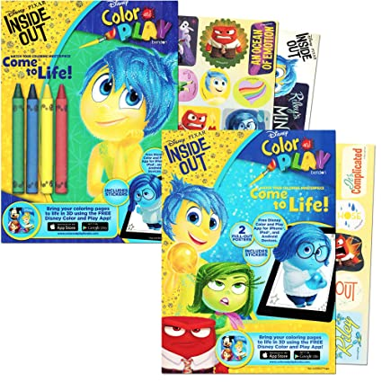 Disney Pixar Inside Out Coloring Book Set With Stickers Posters And Crayons 2 Books