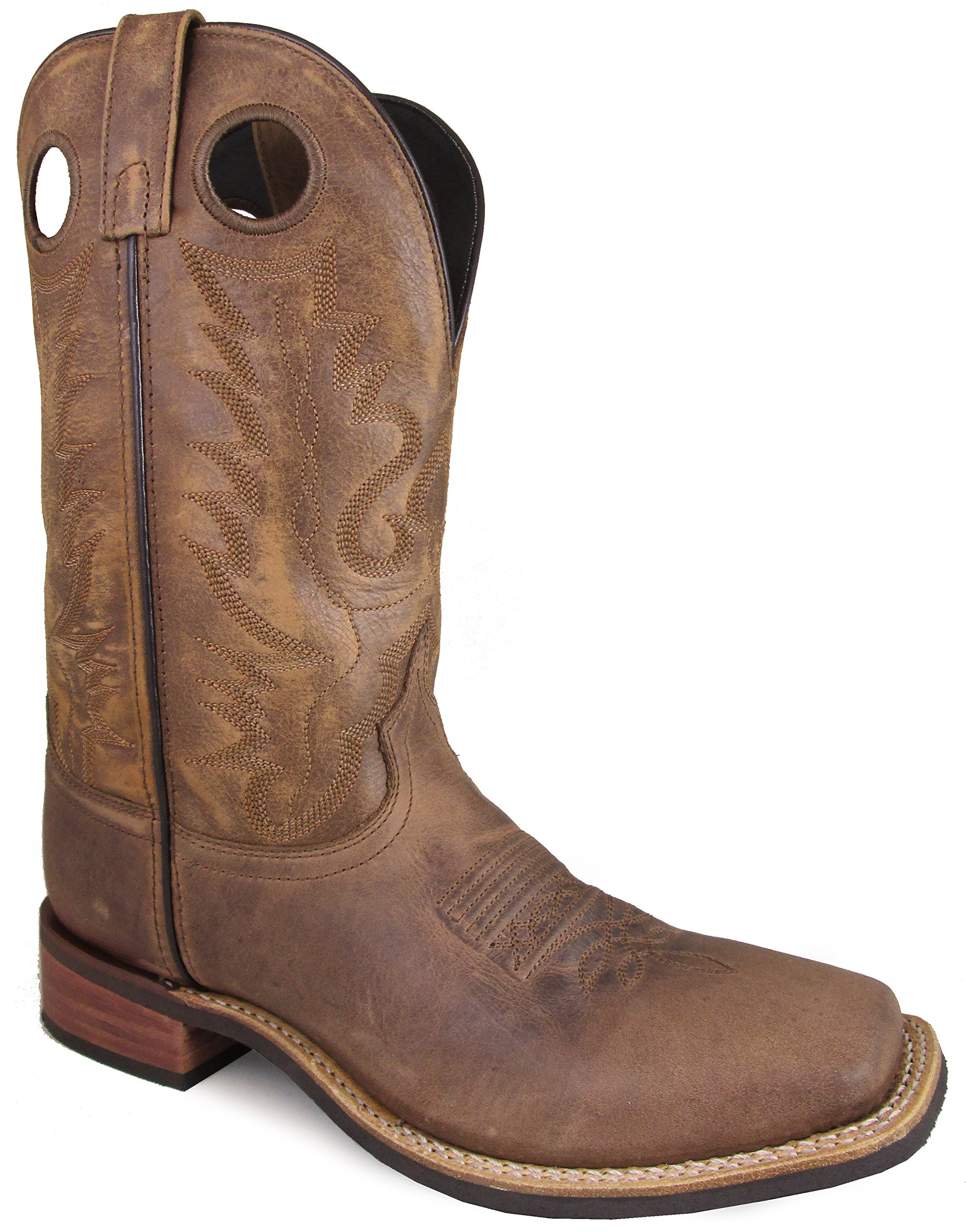 Smoky Mountain Men's Timber Pull On Closure Stitched Design Square Toe Brown Distress Boots 10.5D by Smoky Mountain Boots
