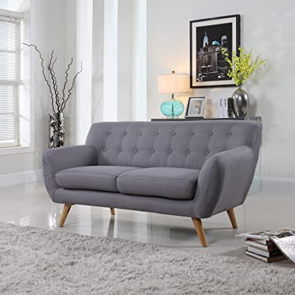 Mid Century Modern Tufted Linen Fabric Loveseat In Various Colors   Polo  Blue, Blue
