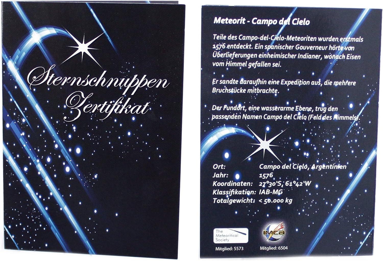 pierre de poche m/ét/éorites avec certificat dauthenticit/é dans un coffret cadeau Budawi/® /Étoile
