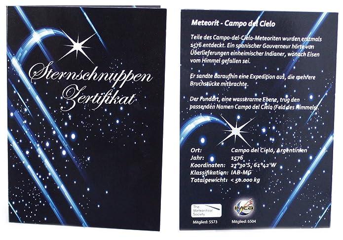 Sternschnuppe (Meteoriten) mit Echtheits-Zertifikat in Geschenk-Box ...