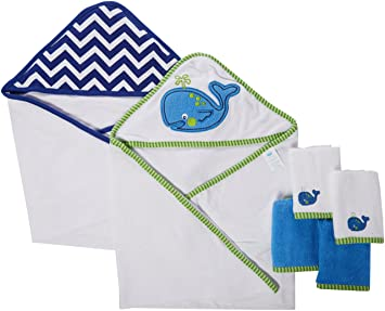 Amazon.com : Neat Solutions Neat Solutions 2 Hooded Baby Towels and 4 Washcloths Set, Blue Whale : Baby