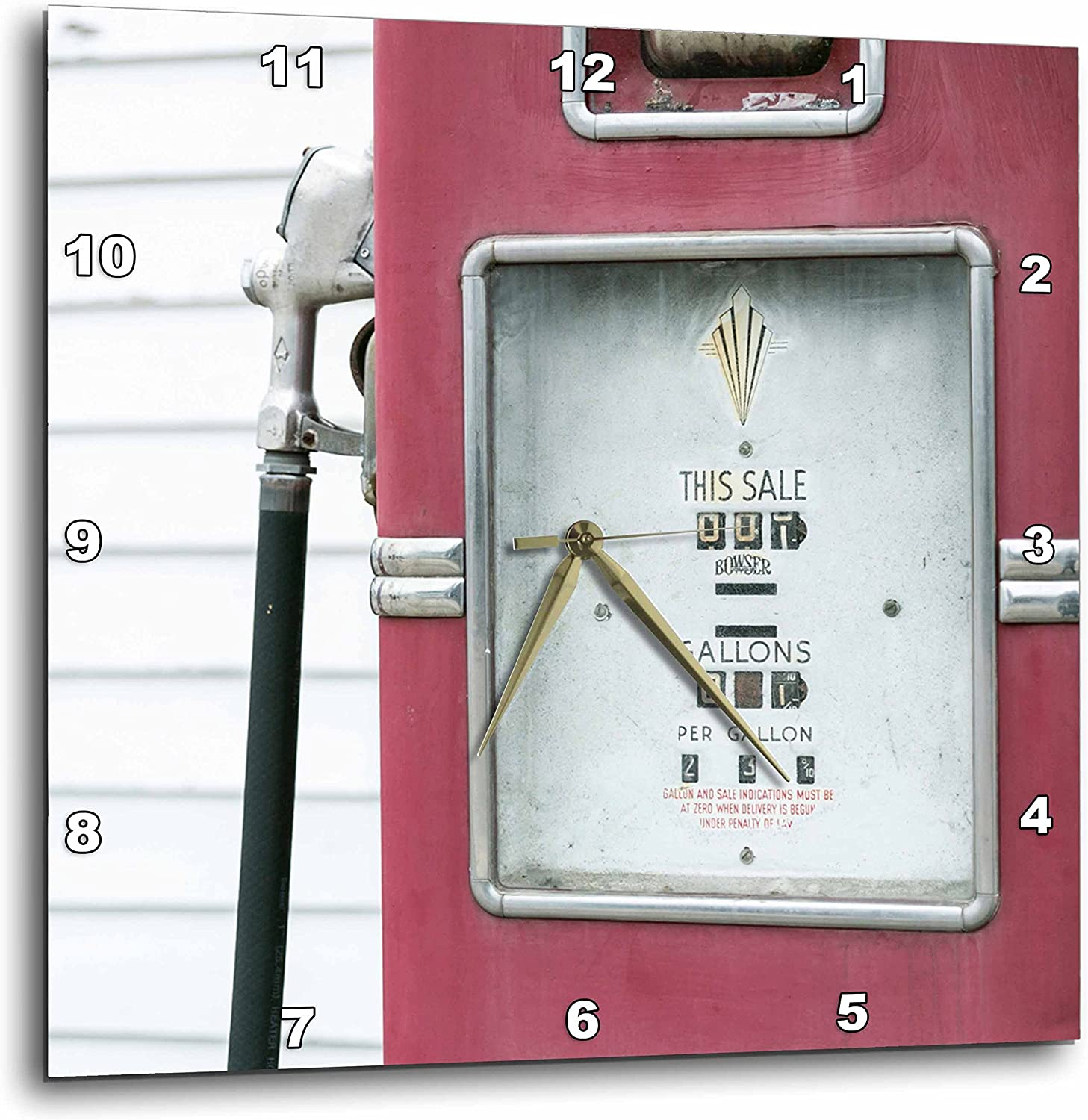 """3D Rose Close up of Antique Gas Pump - Dwight - Illinois - USA. Route 66 Wall Clock, 13"""" x 13"""""""