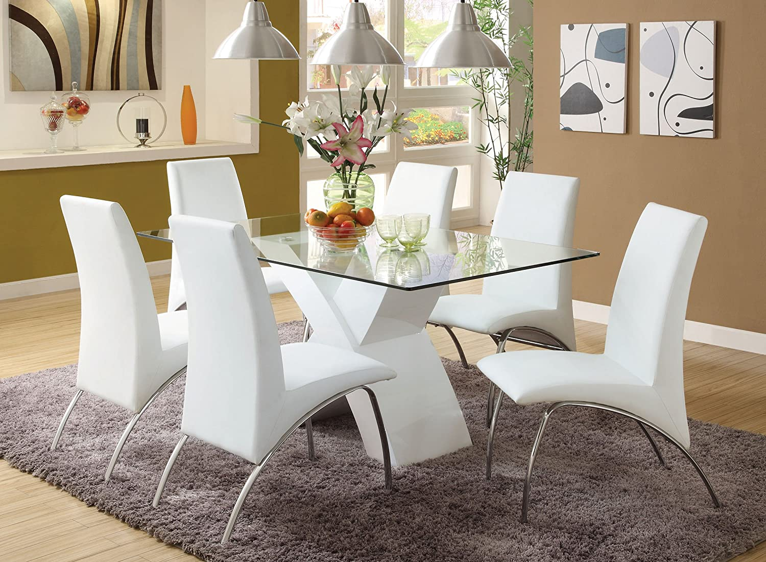 Amazon com  Furniture of America Rivendale 7 Piece Modern Dining Table Set  with 12mm Tempered Glass Top  White Finish  Kitchen   Dining. Amazon com  Furniture of America Rivendale 7 Piece Modern Dining