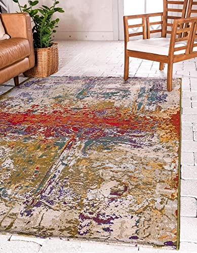 Unique Loom Outdoor Modern Collection Rustic Colorful Abstract Transitional Indoor and Outdoor Flatweave Multi Area Rug 4' 0 x 6' 0