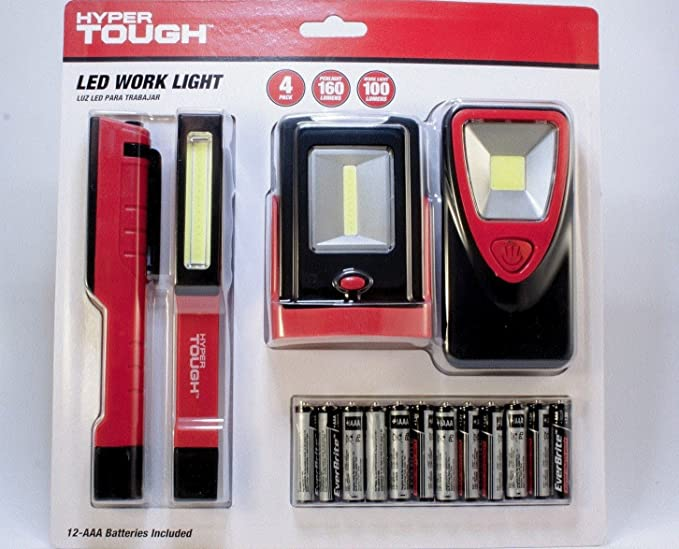 Hyper Tough Led Work Light 4 Pack W 12 Aaa Batteries Included