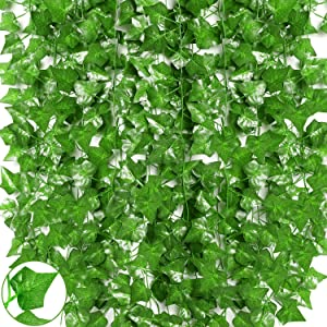 Qlarnaweer Artificial Fake Vines, 84Ft 12 Strands Artificial Ivy Leaf Greenery Garland Wall Decor Hanging Plants Foliage for Home Kitchen Garden Office Wedding Party