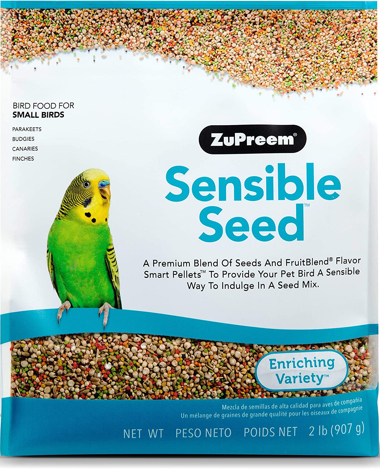 ZuPreem Sensible Seed Bird Food for Small Birds, 2 lb - Premium Blend of Seeds and FruitBlend Pellets for Parakeets, Budgies, Parrotlets, Canaries, Finches