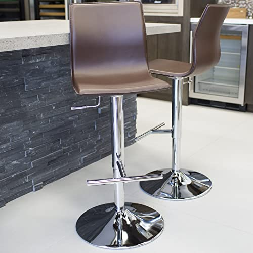 Mix Chrome Faux Leather Brown Adjustable Height Swivel Bar Stool