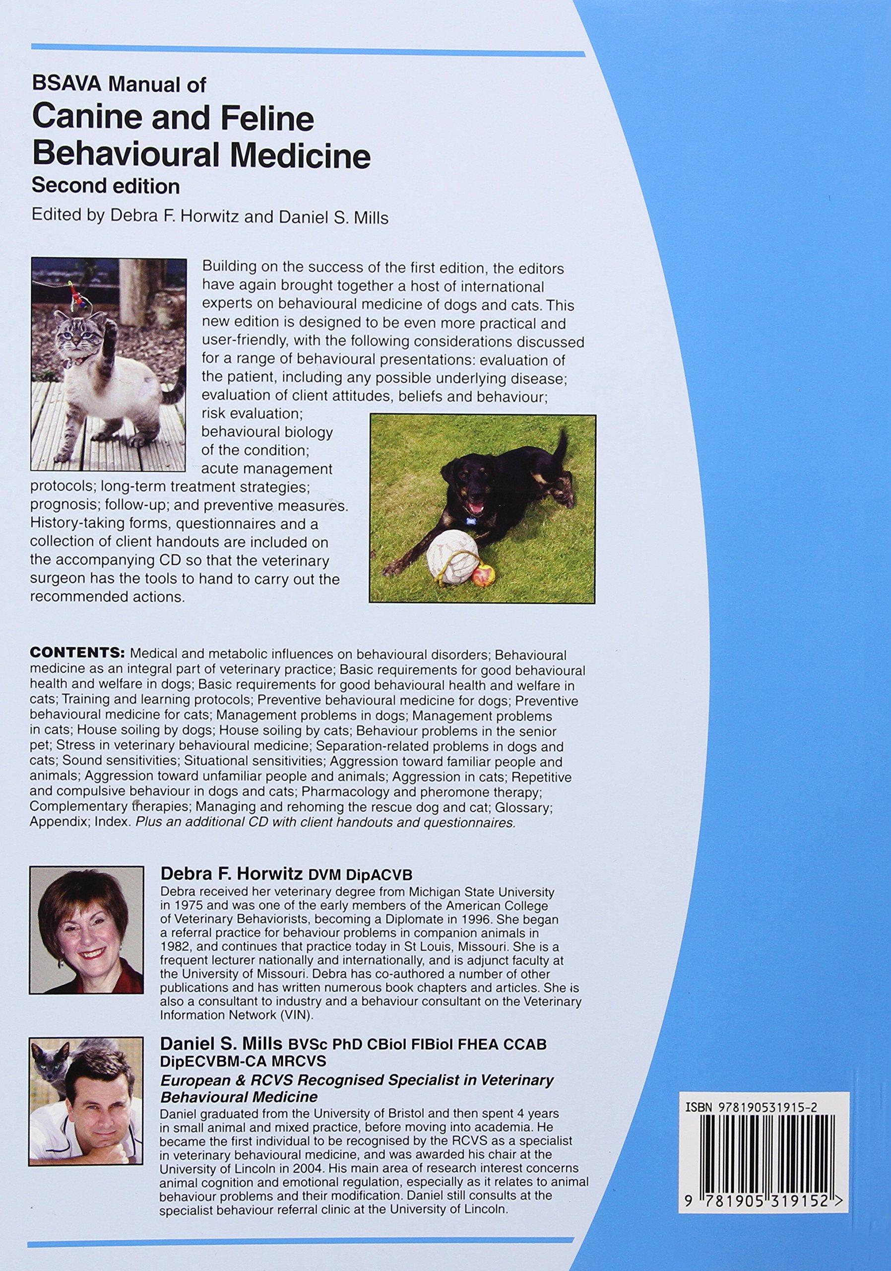 BSAVA Manual of Canine and Feline Behavioural Medicine (BSAVA British Small  Animal Veterinary Association): Amazon.co.uk: Debra F. Horwitz, Daniel S.  Mills: ...