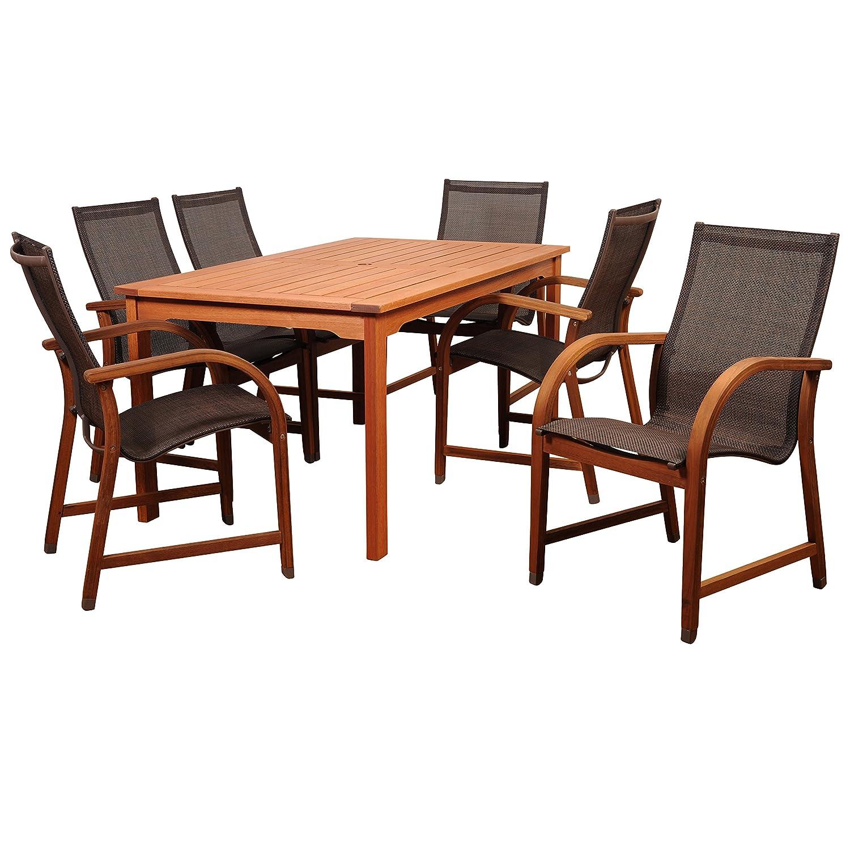 Amazonia 7-Piece Eucalyptus Rectangular Dining Set