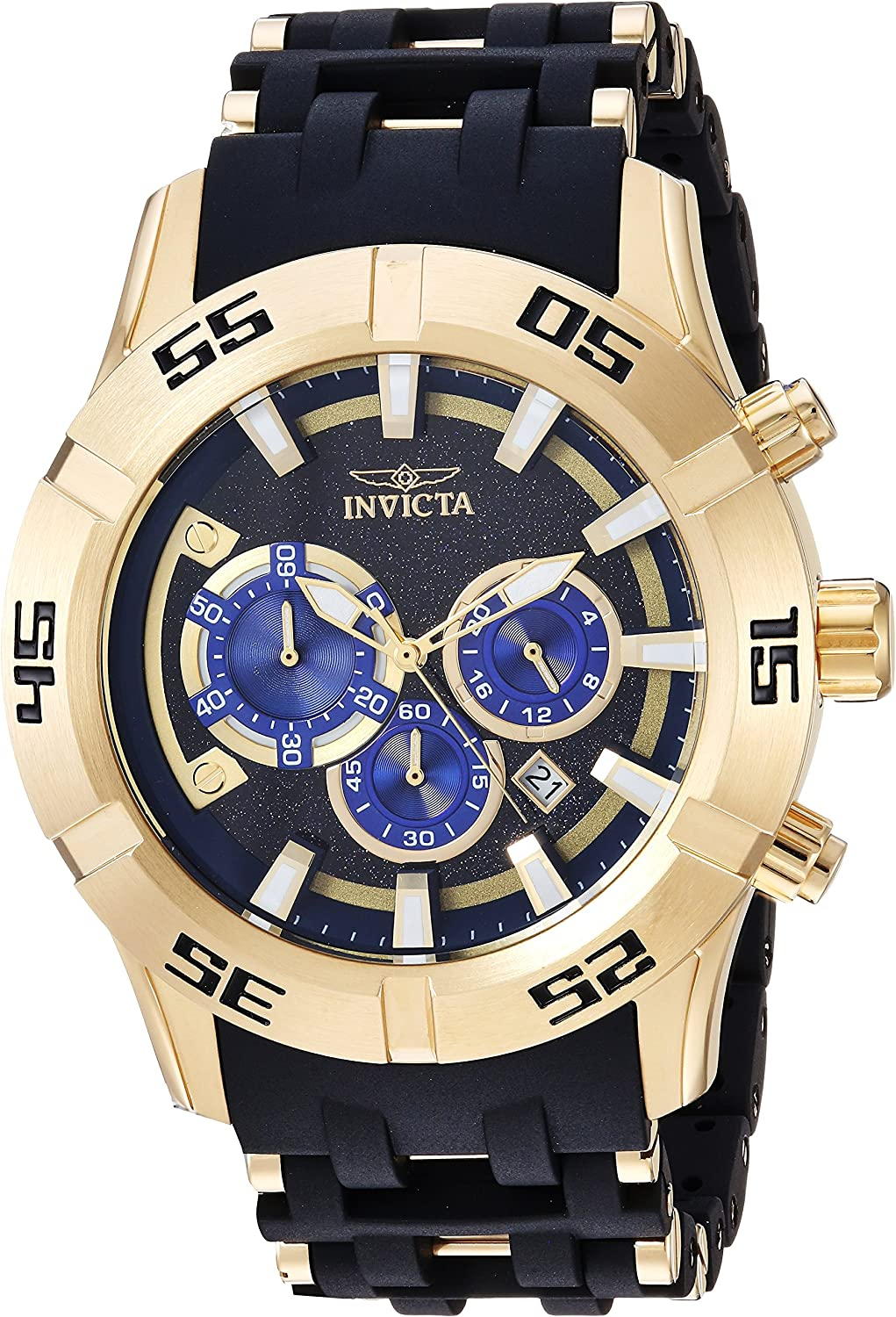 Invicta Men s 50mm Sea Spider Collection Chronograph Black Polyurethane Bracelet Stainless Steel Watch