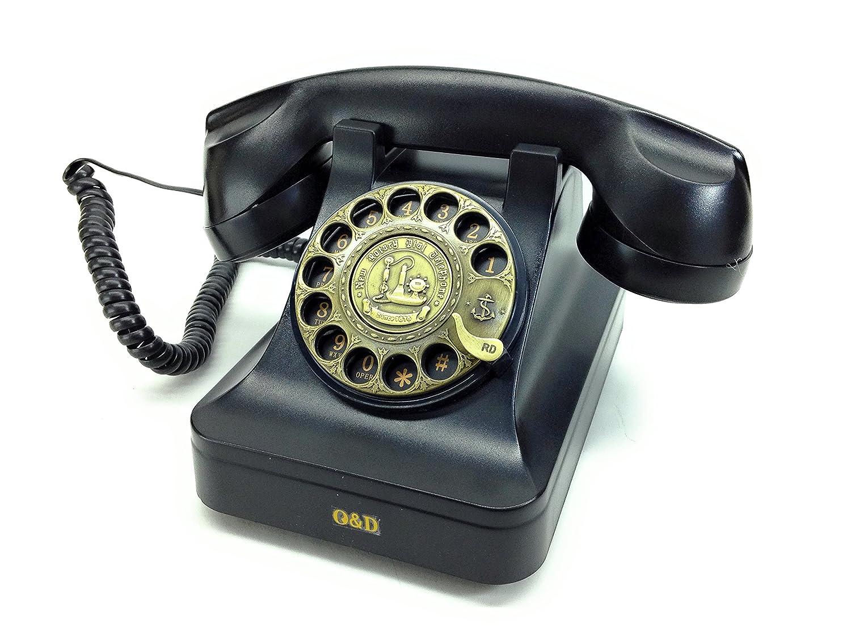 ノスタルジック アイテム 懐かしの 黒電話風 オシャレな 電話機 ブラック B00I9APGOS