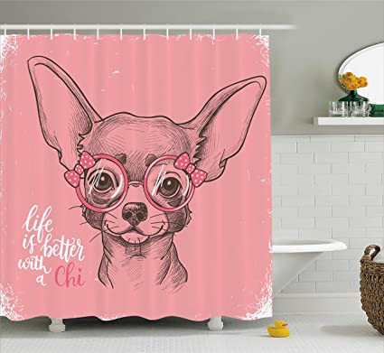 Ambesonne Dog Shower Curtain Girl Chihuahua Sketch Illustration With Quote Fashion Glasses Ribbons Puppy