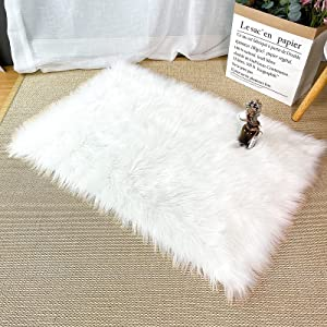 Gladpaws Area Rugs,Faux Fur Sheepskin Rectangle Rugs and Carpets for Kids Room Living Room Home Decor Floor Mat, 2ft x 3ft (White)