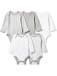 Moon and Back Unisex-Baby Infant Set of 5 Organic Long Sleeve Bodysuits