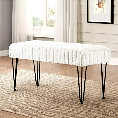 Serenta Super Mink Faux Fur Ottoman Bench, 46 x 16 x 25 H, Bright White