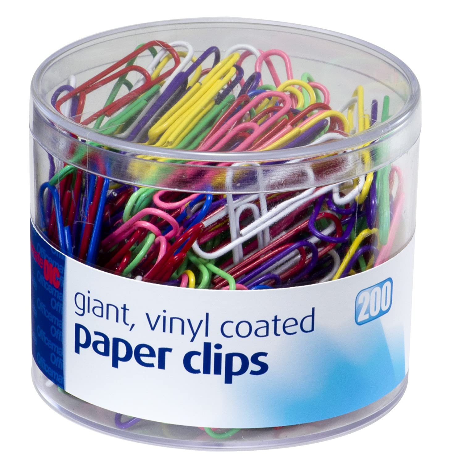 Officemate Assorted Color Giant Vinyl Paper Clips, 200 per Tub (97632) Officemate International