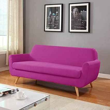 Amazon.com: Mid Century Colorful Linen Fabric Sofa, Loveseat in ...
