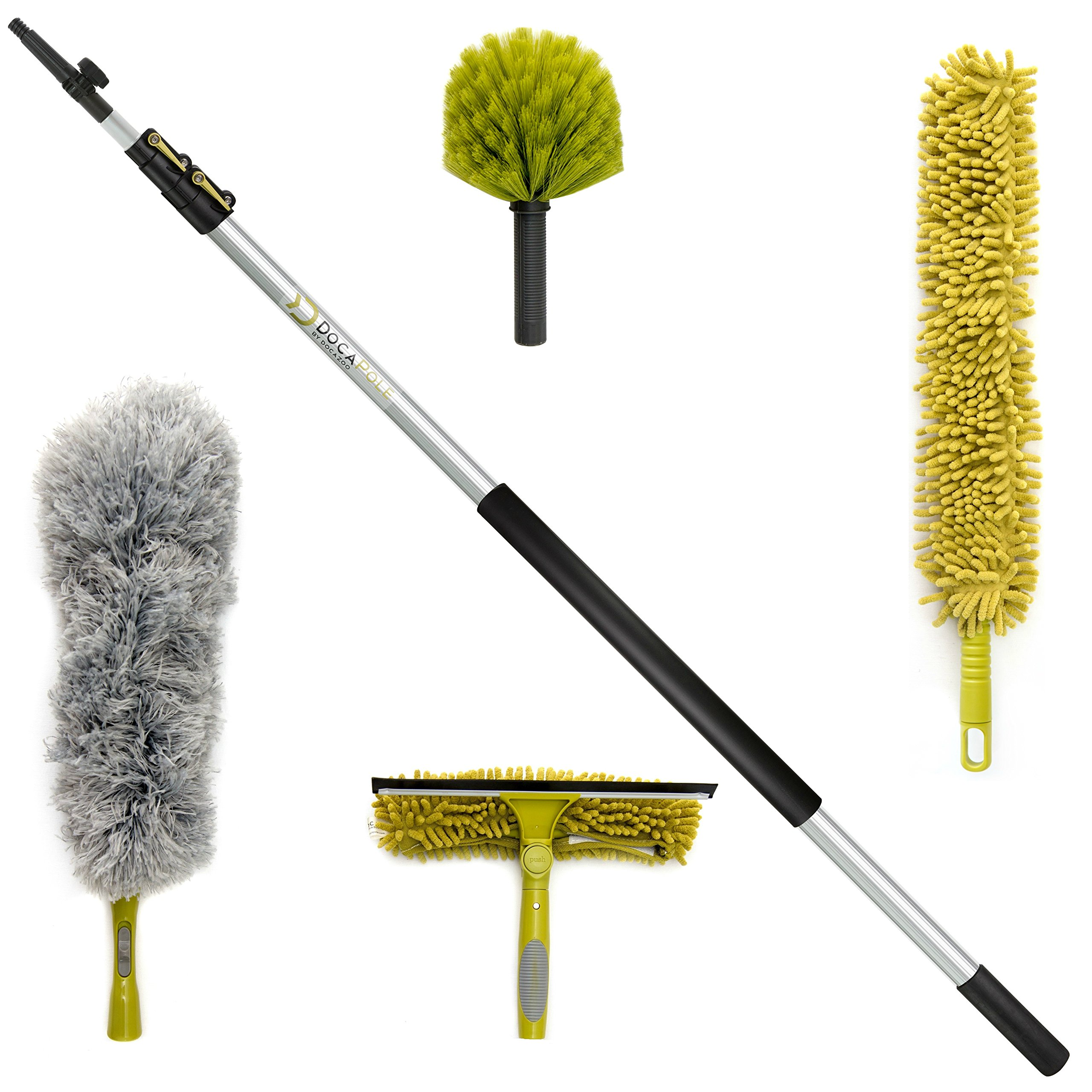DocaPole Cleaning Kit with 12 Foot Extension Pole // Includes 3 Dusting Attachments + 1 Window Squeegee & Washer // Cobweb Duster // Microfiber Feather Duster // Ceiling Fan Duster & Cleaner