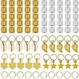 Ryalan 80 Pieces Hair Jewelry Rings Aluminum Hair Accessories Dreadlocks Metal Hair Cuffs Decorations Pendants for…