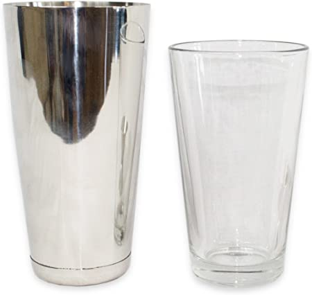 2dayShip Cocktail Shaker Set 16 Ounce Glass and 30 Ounce Stainless Steel Cup, 2 Piece