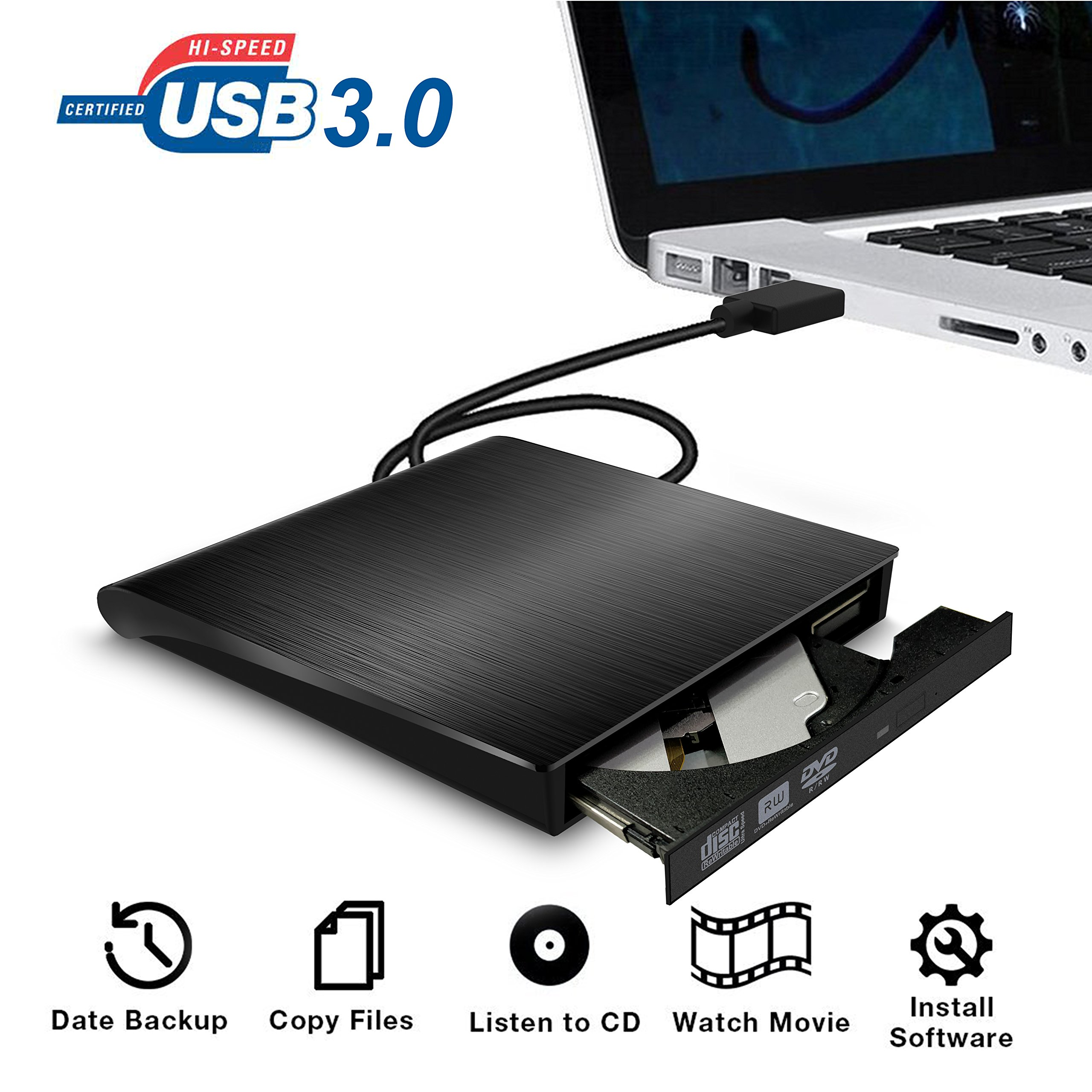 External CD DVD Drive,Valoin High Speed USB 3.0 Data Transfer Super Slim CD DVD-RW DVD ROM Drive for Laptop Desktop MacBook Win 7/8/10/Vista/Mac OS