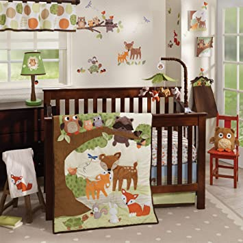 Woodland Baby Bedding Sets.Lambs Ivy Woodland Tales 4 Piece Crib Bedding Set Brown White Green
