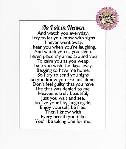 Amazoncom 8x10 Unframed Print As I Sit In Heaven Poem Print Sign