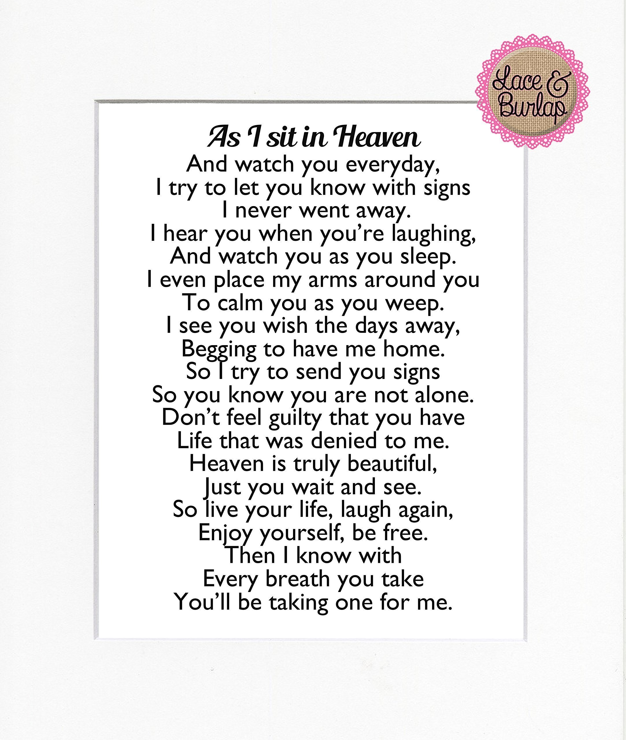 8x10 UNFRAMED PRINT As I Sit in Heaven Poem / Print Sign / Memorial Remembrance In Loving Memory Wall Décor