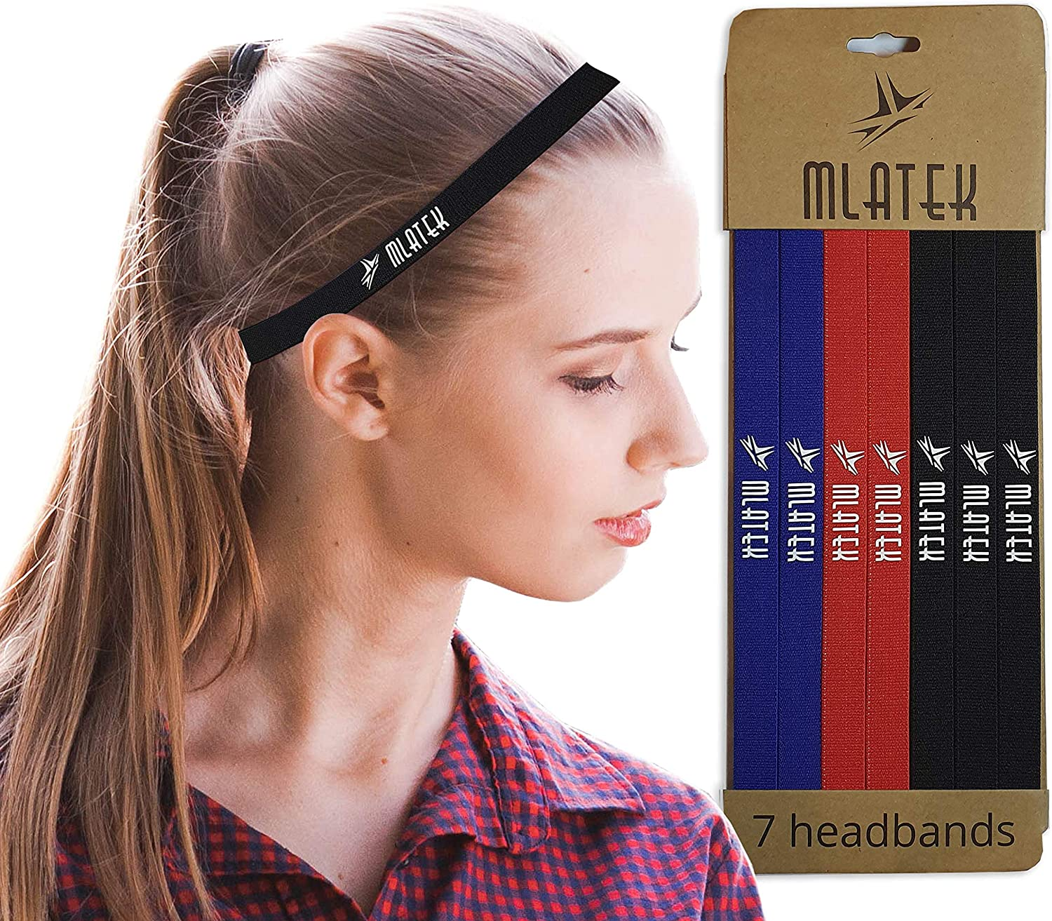 Kids Men Set of 7 Elastic Thin Sports Headbands with Non Slip Silicone Grip for Women