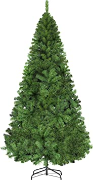 Luter 7 5 Ft Artificial Christmas Tree Spruce Hinged Xmas Tree Christmas Decorations For Indoor Easy Assembly 1450 Branch Tips With Metal Stand Green