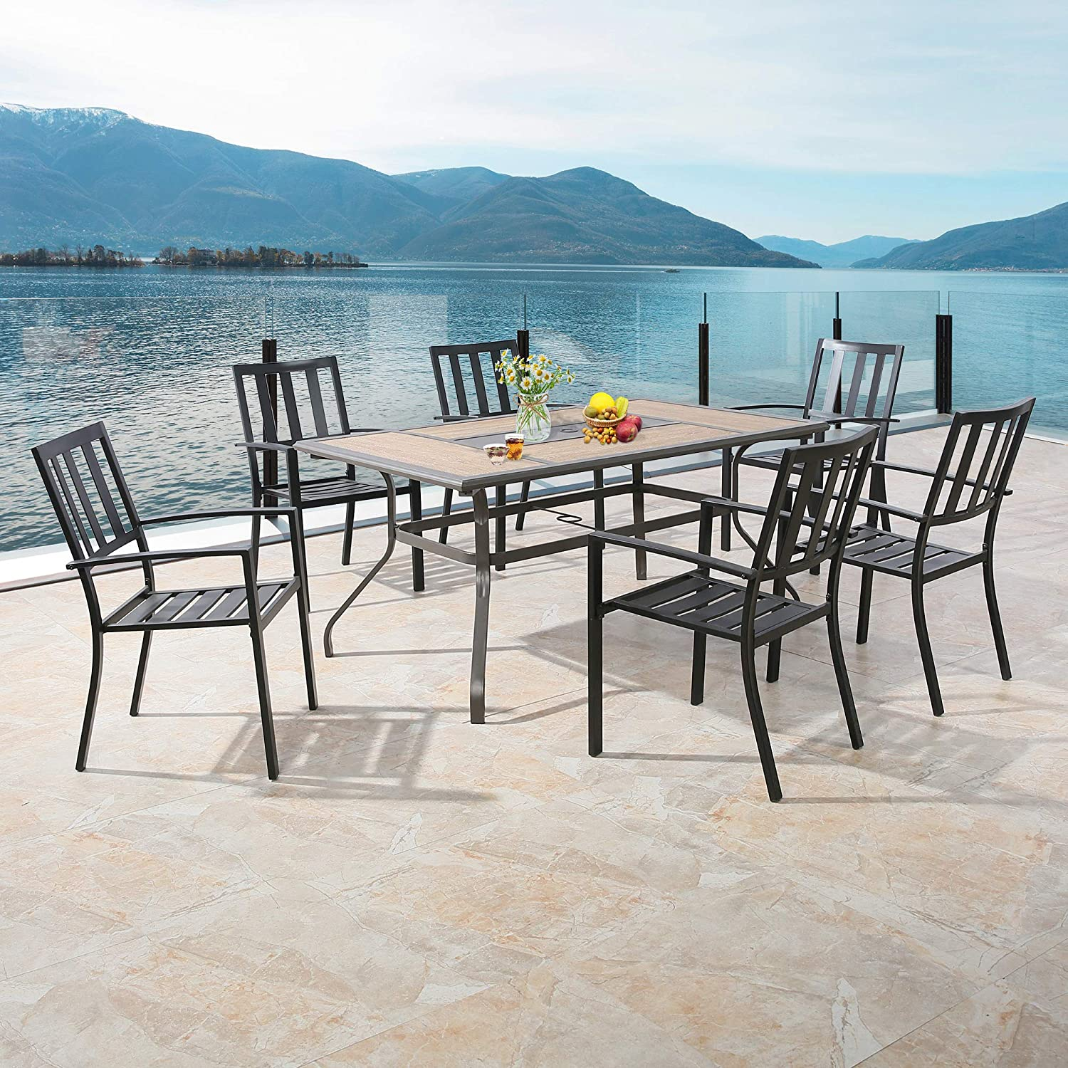 PATIO TREE Outdoor Dining Table with Wooden-Like Top Patio Rectangular Heavy-Duty Steel Frame Garden Table with Umbrella Hole