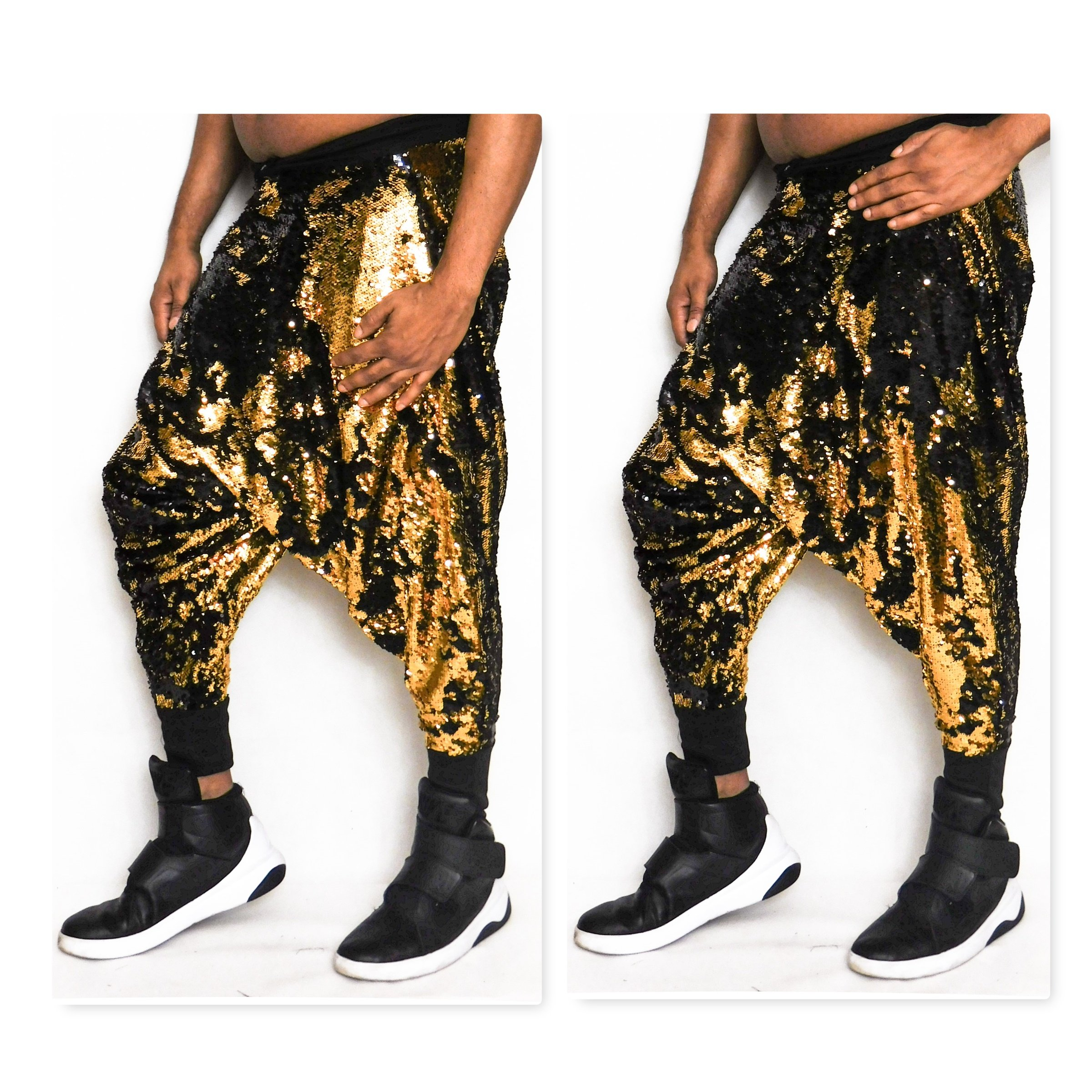Reversible Sequin Harem Pant Jogger Gold to Black Color Changes When brushed to change color Brush Sequins