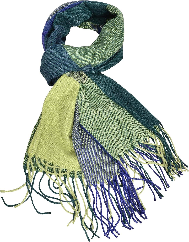 Blue-Gray Womens Big Grid Winter Warm Lattice Large Scarf Stylish Plaid Blanket Long Shawl Wrap
