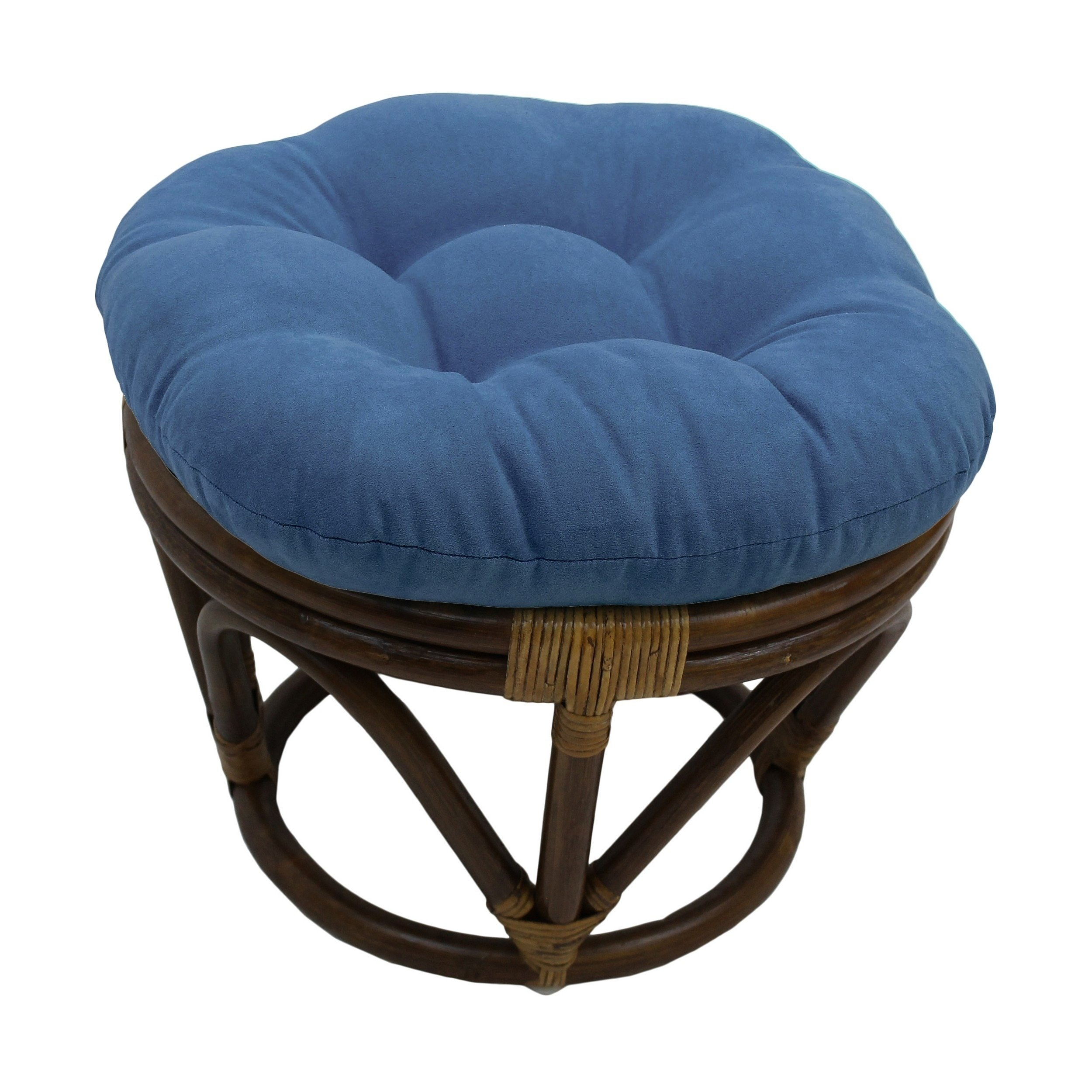 International Caravan Bali Papasan Footstool with Microsuede Cushion Indigo