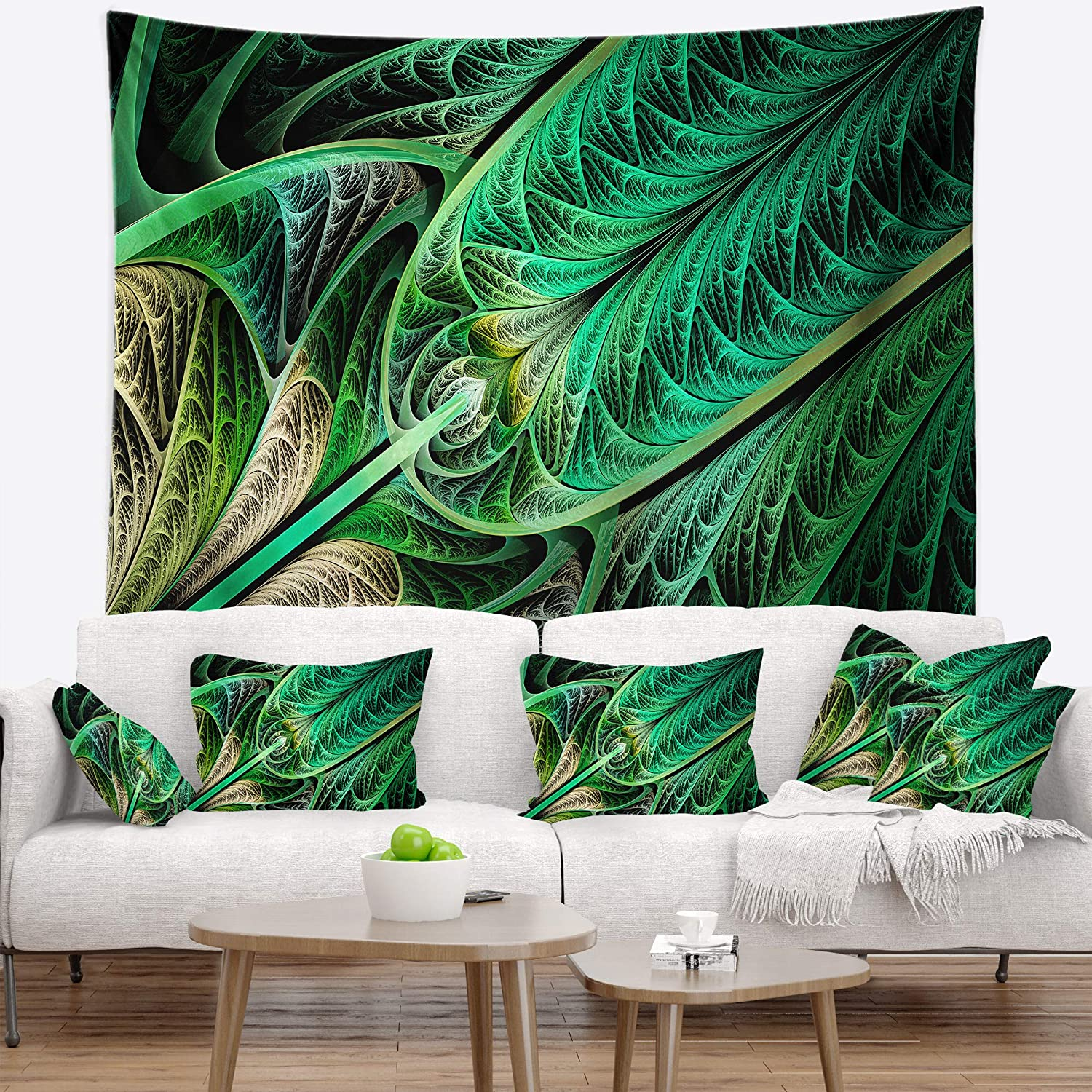 39 In Designart Tap15850 39 32 Green On Black Fractal Stained Glass Abstract Blanket Décor Art For Home And Office Wall Tapestry Medium X 32 In Created On Lightweight Polyester Fabric