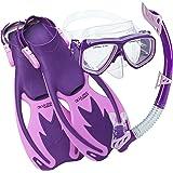 Cressi Junior Snorkeling Kit for Young Aged 3 to 8 - Mask + Dry Snorkel + Adjustable Fins + Net Bag - Lightweight…