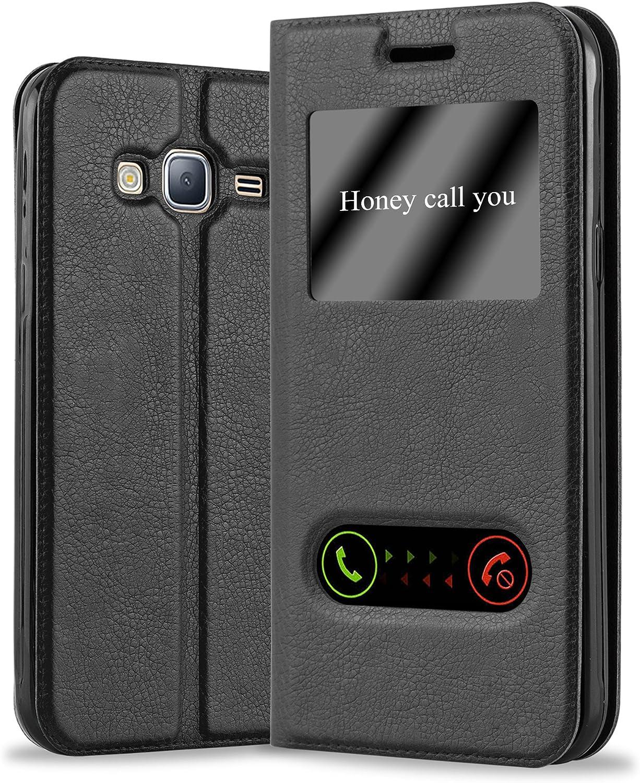 Cadorabo Funda Libro para Samsung Galaxy J3 / J3 DUOS 2016 en Negro Cometa - Cubierta Proteccíon con Cierre Magnético, Función de Suporte y 2 Ventanas- Etui Case Cover Carcasa