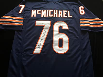bfd3ae1b3fe Image Unavailable. Image not available for. Color  Steve McMichael Chicago  Bears Signed Autograph Blue Jersey JSA COA