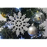 Plastic Snowflake Ornaments, tiny 24pcs Sparkling White Iridescent Glitter Snowflake Ornaments on String Hanger for Decorating, Crafting,wedding and Embellishing(3inch, white)