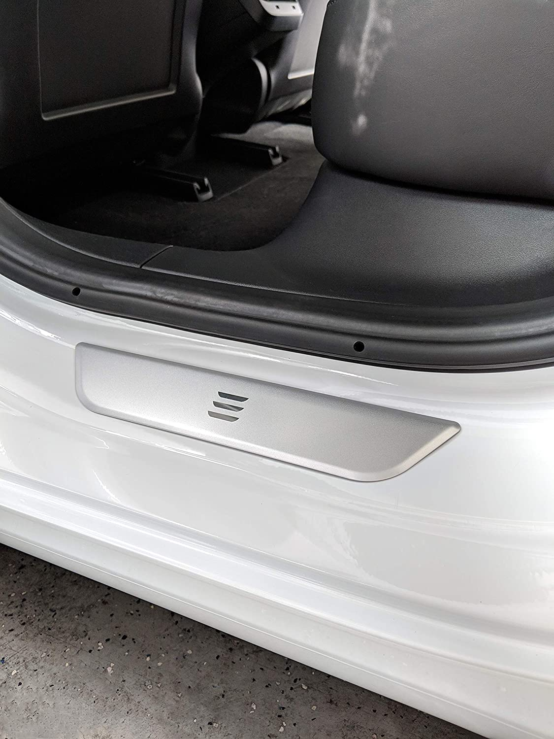 QHO AUTO Stainless Steel Door Sill Scuff Plates for Tesla Model 3 Door Protection-Silver