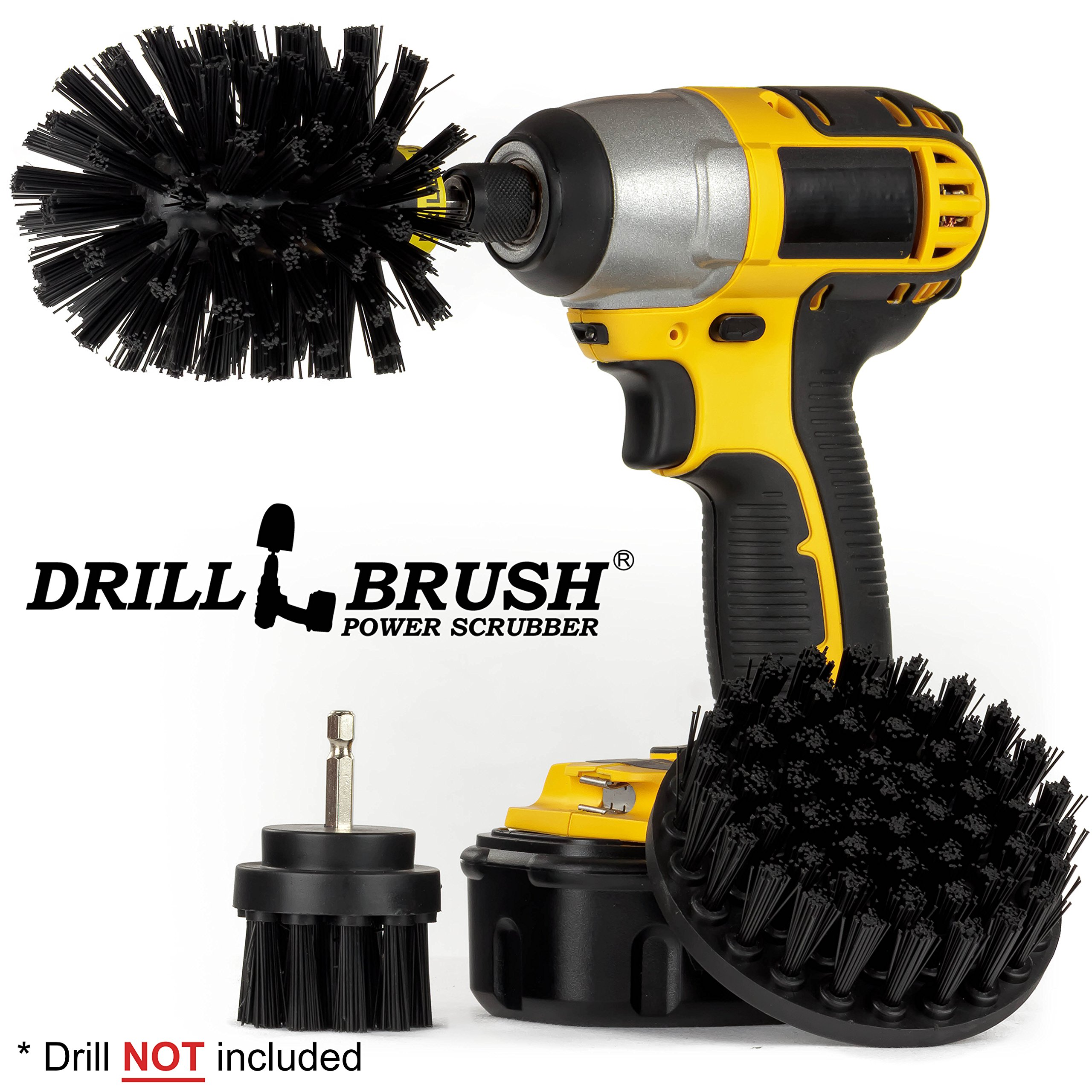 Replace Wire Brushes for Drill. Ultra Stiff Nylon Drill Powered Attachment Kit for Loose Paint Stripping, Rust Removal and Heavy Duty Scrubbing. Graffiti Remover for Stone, Cement, and Brick Walls.