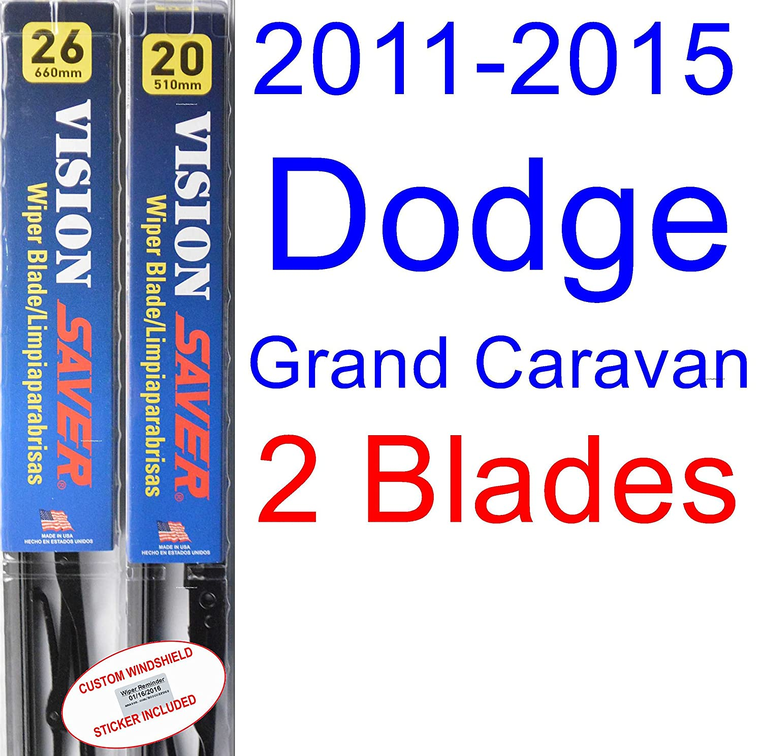 Amazon.com: 2011-2015 Dodge Grand Caravan Replacement Wiper Blade Set/Kit (Set of 2 Blades) (Saver Automotive Products-Vision Saver) (2012,2013,2014): ...