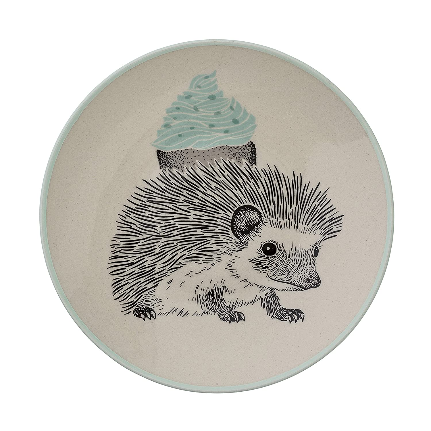 Bloomingville A21102456 Off White and Mint Ceramic Albert Plate Multicolor