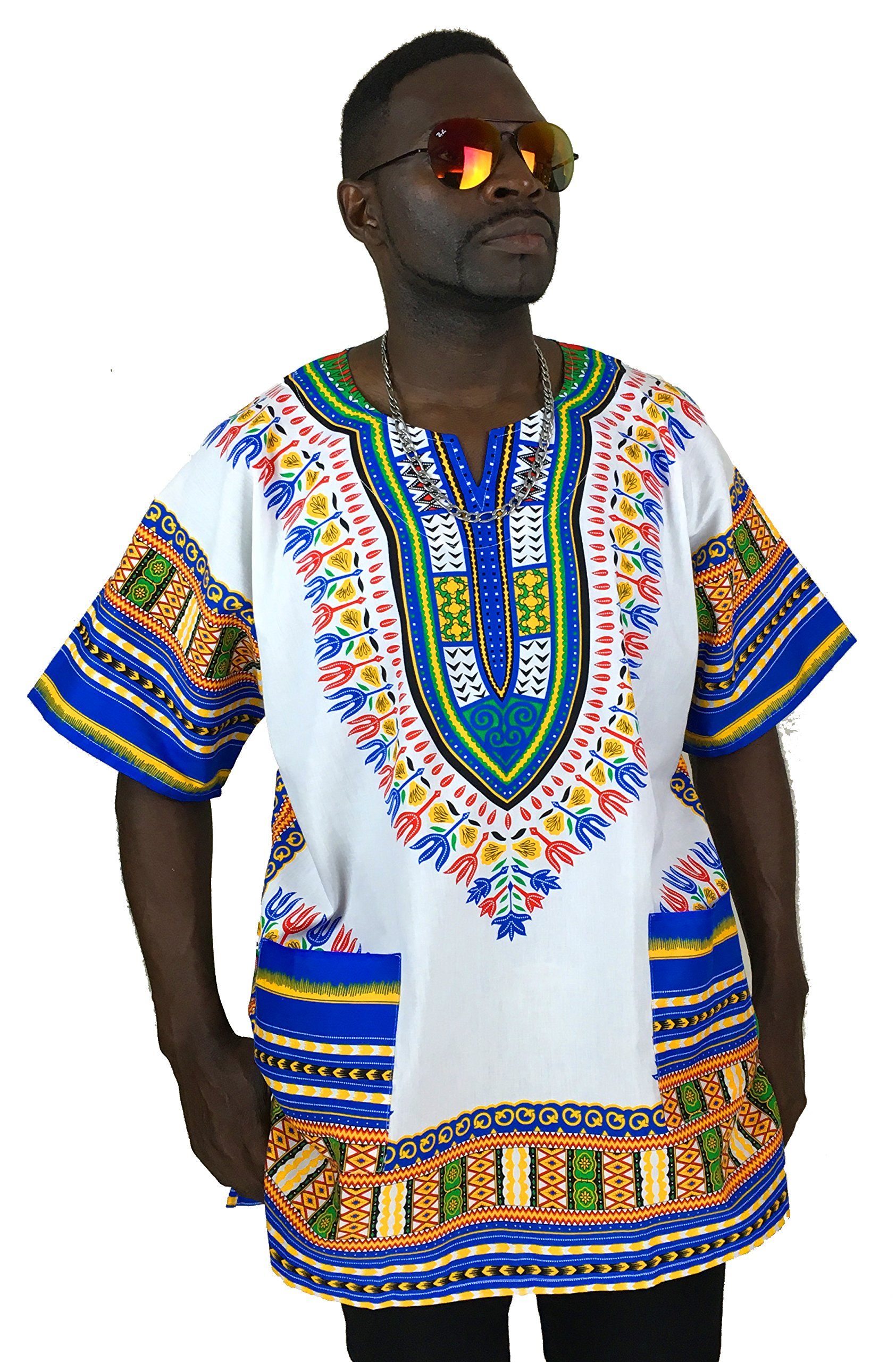Vipada's Dashiki Shirt African Top Men's Dashiki White and Blue 2XL