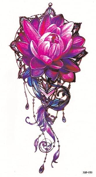 e5421c659 Amazon.com : DaLin Medium Temporary Tattoos, 4 Sheets (Pink Lotus Flower) :  Beauty